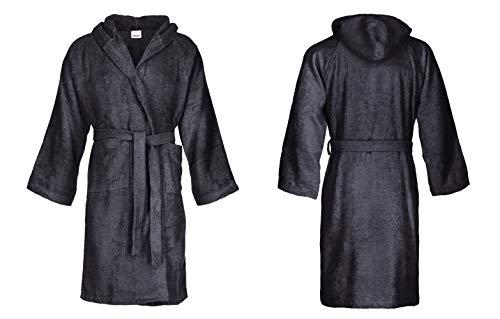 Bassetti - Albornoz con capucha para hombre/mujer, disponible en varias tallas y colores, 100% algodón negro gris oscuro Taglia XL