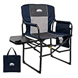 Coastrail Outdoor Extra Compact Folding Directors Camping Chair with Breathable Mesh Back, Large Side Table with Cup & Phone Holder, Storage Pockets and Handle, Bonus Carry Bag, Navy&Gray