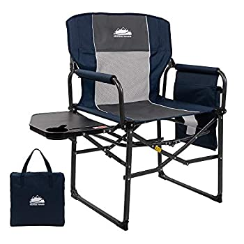 Coastrail Outdoor Extra Compact Folding Directors Camping Chair with Breathable Mesh Back Large Side Table with Cup & Phone Holder Storage Pockets and Handle Bonus Carry Bag Navy&Gray