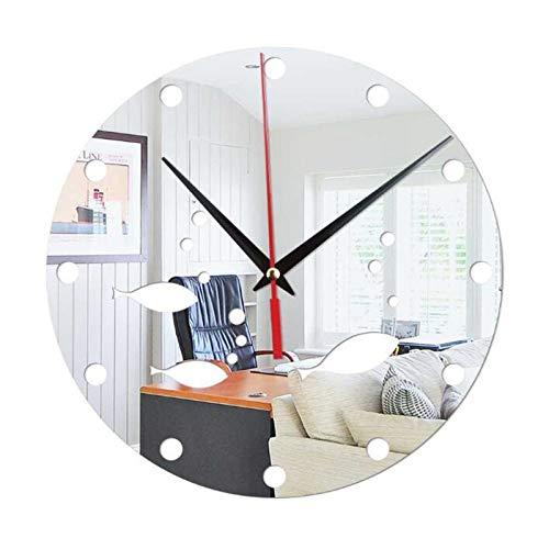 XinLuMing Reloj casero Decorativo DIY Mute Mute Reloj Creativa ATMÓSPOSO Redondo Easy Tienda de Ropa Tienda Cafetería Decoración del hogar Regalos (sin batería) (Color : White)