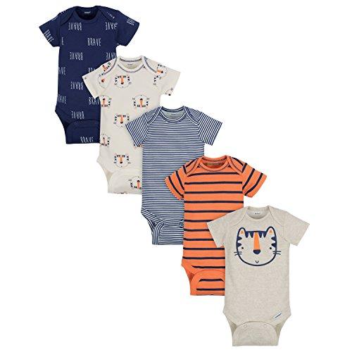 Gerber Baby Boys' 5-Pack Variety Onesies Bodysuits, Happy Tiger, 3-6 Months