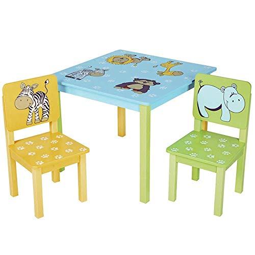 MZXUN Niños Mesa de Estudio Juego de sillas for niños Mesa y 2 Sillas Interior y Exterior Muebles Infantiles Sillas Actividad de Mesa (en Colores: Color, tamaño: 60x50 / 53x28cm)