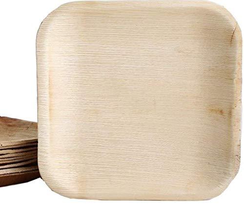 KOKA Lot de 100 assiettes jetables carrées en feuille de palmier respectueuses de l'environnement et compostables - Dimensions extérieures : 18 x 18 cm