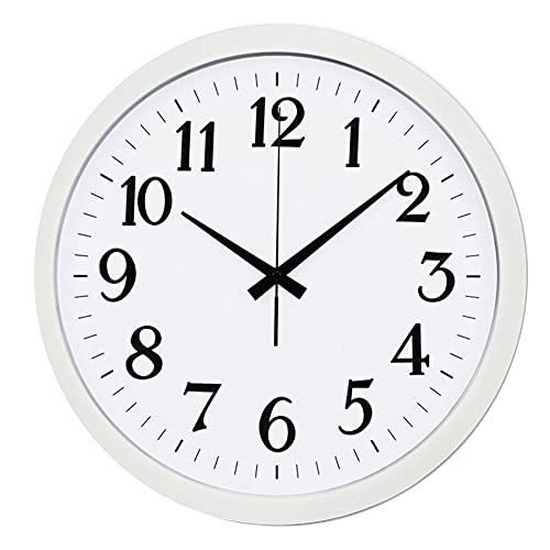 PJKOPK Reloj de pared decorativo de cuarzo silencioso de 16 pulgadas que no hace tictac de plástico digital funciona con pilas, redondo fácil de leer el hogar/la oficina/el reloj de la escuela