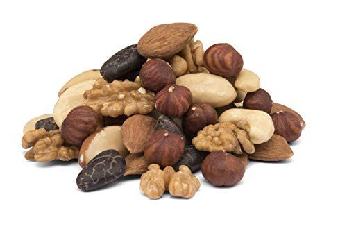 Mezcla de 5 tipos de nueces orgánicas con granos de cacao - nueces de Brasil, avellanas, almendra, nueces y anacardos, BIO, crudas sin tostar 750g 0.75kg