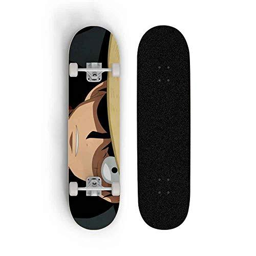 Kssmice One Piece: Monkey D. Luffy Fondo Anime Skateboard, Mini Cruiser, Monopatería de Cubierta de Arce de 7 Capas, rodamiento de Carga 100 kg, Scooter de la Calle de la Carretera para Principiantes