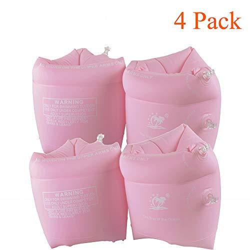 Oumeiou Schwimmflügel, aufblasbare Schwimmarmbänder, Schwimmbad-Schwimmflügel für Kinder und Erwachsene (Pink, 4er-Pack)
