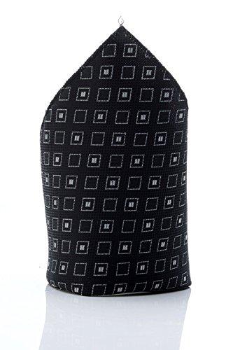 Pochette noire à carrés blancs homme dandy cravate mouchoir costume