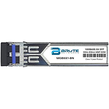 Brute Networks SFP-GIG-SX-BN 1000BASE-SX 550m MMF 850nm SFP Transceiver Compatible with OEM PN# SFP-GIG-SX