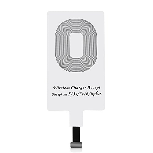 CHOETECH iPhone Qi Receptor, Receptor de Carga Inalámbrico/Ultra Fino Wireless Receptor/Qi Receptor Inalámbrico del Cargador Compatible con Apple iPhone 7/7 Plus, iPhone 6/6 Plus, iPhone 5 / 5S / 5C