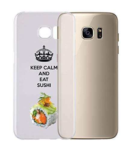 Social Crazy Cover Smartphone Samsung s4 s5 s6 s7 s8 + note4 note5 - Keep Calm And Eat Sushi con Protezione della Fotocamera Custodia Clear Trasparente Ultra Sottile Silicone