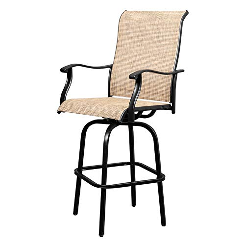2pcs Wrought Iron Swivel Bar Chair Patio Swivel Bar Stools Black Weather-Resistant, Durable Indoor/Outdoor Furnitures