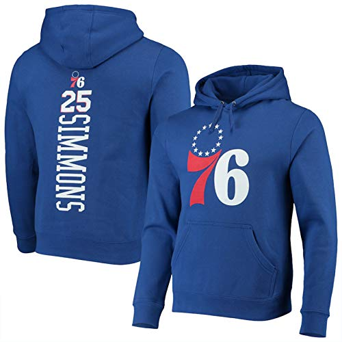PSZH Sudadera con Capucha de Baloncesto Ben Simmons # 25 Traje Philadelphia 76ers Pullover Formación suéter de la Capa Floja y Transpirable Camiseta de Blue 1-M