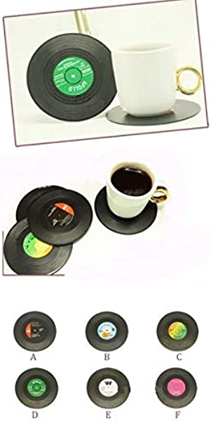 King S Store Six Colored Vinyl Disc Coasters Retro Design Is For Music Enthusiasts