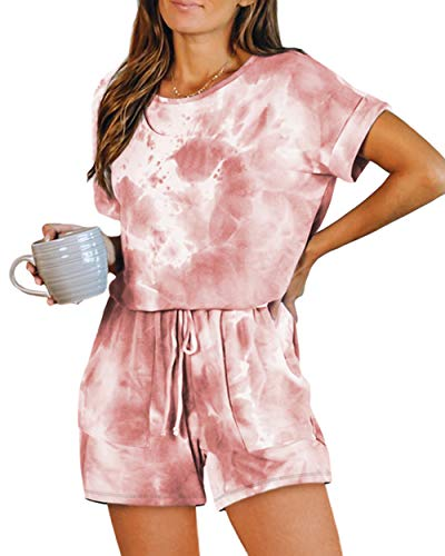 zeyubird Womens Casual Round Neck Tie Dye Printed Jumpsuit Short Sleeve Outfits One Piece Pockets Rompers for Women Pink