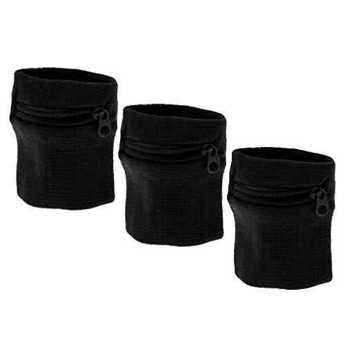 Unbekannt MagiDeal Schwarz Wristband Schweißband mit Reißverschlusstasche Handgelenktasche Armbandtasche Geldbörse, 3er Set
