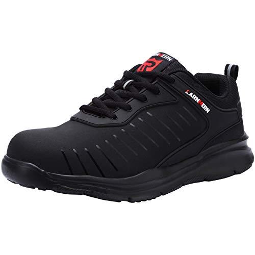 [LARNMERN] 超軽量 安全靴 鋼製先芯 メンズ レディース 作業靴 おしゃれな安全靴 スニーカー つま先保護 セーフティー 撥水 ワーク シューズ 通気性 衝撃吸収 通動靴 男女兼用 作業用品(ブラック-撥水,28.0cm)
