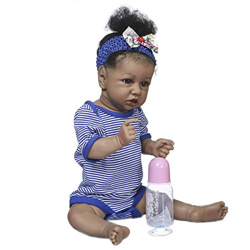 Zero Pam 22 Inch Full Silicone Baby Doll Biracial Reborn Toddler Girl Anatomcially Correct Dolls Black African American Baby Realistic Newborn Toys