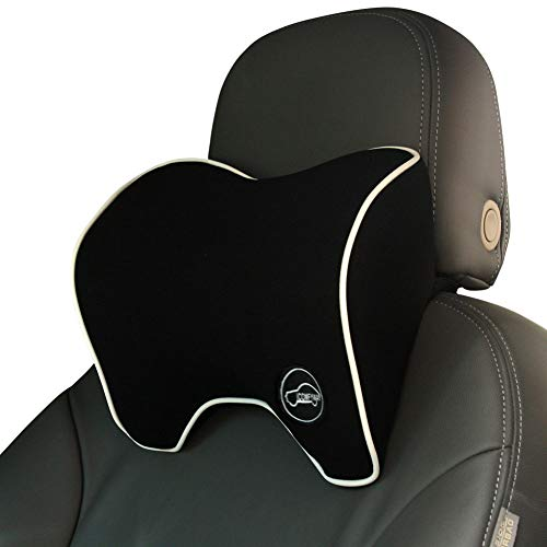 ICOMFYWAY Car Neck Support Pillow for Neck Pain Relief When Driving,Headrest Pillow for Car Seat with Soft Memory Foam – Black