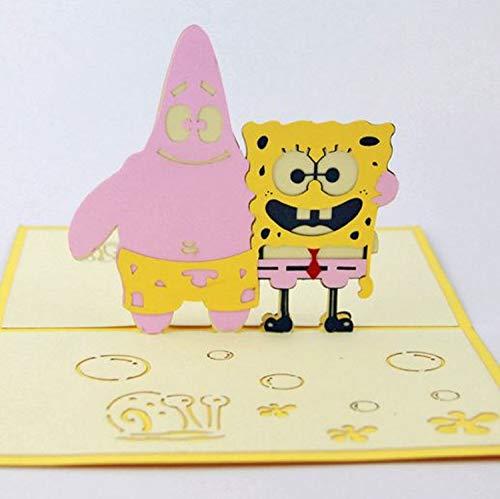 BC Worldwide Ltd handgemachte 3D Pop Up Geburtstagskarte SpongeBob Schwammkopf Patrick Star animierte TV Cartoon Comic Kind Kind Geschenk Hochzeitstag, Valentines