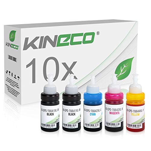 10x Kineco Tinte kompatibel zu Epson EcoTank ET-2500 ET-2550 ET-2600 ET-2650 ET-4500 ET-14000 L100 L110 L1300 L200 L210 L350 L355 L365 L455 L550 L555 L565 - je 70 ml