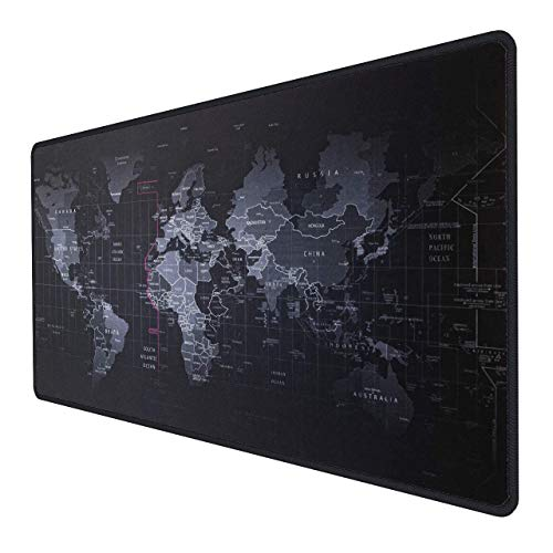 Inphic Large Gaming Mouse Pad Mat (700 * 300 * 3 mm) XXL Extended Desktop Keyboard Pad Duurzame Waterbestendige & Antislip Rubber Base, Comfortabel gestructureerd oppervlak voor Mac PC Laptop - Zwart, XXL-Map