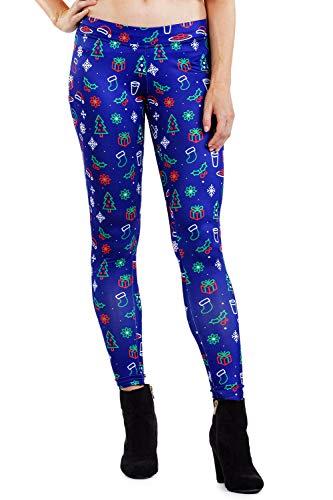 Tipsy Elves Women's Neon Christmas Leggings - Cute Christmas Leggings: M
