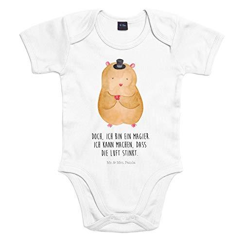 Mr. & Mrs. Panda Strampler, Bodysuit, 18-24 Monate Baby Body Hamster mit Hut mit Spruch - Farbe Transparent
