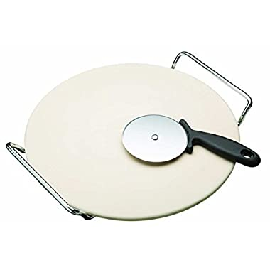 Goodview Cordierite Pizza Stone with Heavy Serving Rack and Deluxe Wheel Pizza Cutter For Indoor and Oven