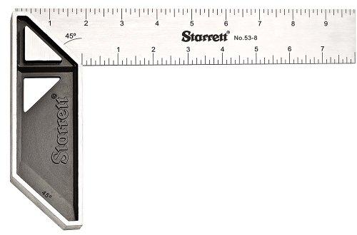 """Starrett K53-8-N Stainless Steel Carpenters Try Square, 8"""" Length"""