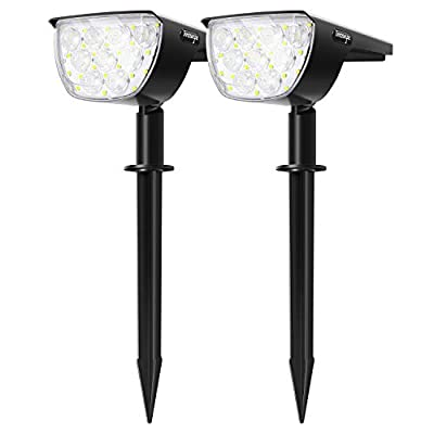 30 LEDs Outdoor Solar Landscape Spotlights ?2020 New Version? PRO IP67 Waterproof Wireless Solar Powered Landscaping Wall Light for Yard Garden Driveway Porch Walkway Pool Patio Adjustable 2 Pack