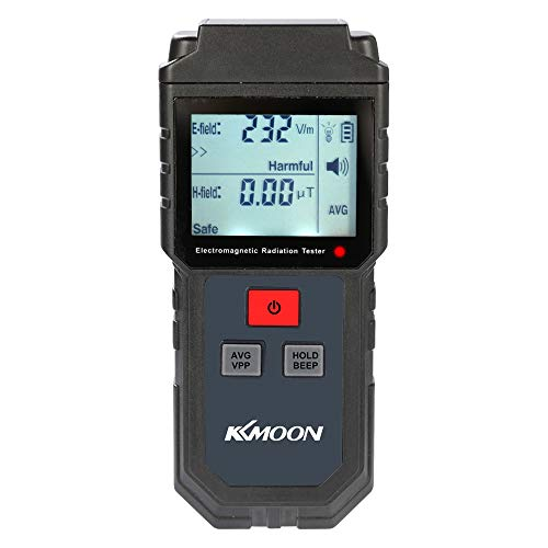 KKmoon EMF Meter, Portable Handheld Digital LCD Electromagnetic Radiation Tester Electric Field Magnetic Field Dosimeter Detector with Sound and Light Alarm (5Hz-3500MHz)