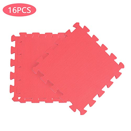 Dasuy Extra Thick Exercise Mat Home Flooring Puzzle Foam Mats Yoga Gym Gymnastic Cushioned Workout Floor Interlocking EVA Mats (16 Tiles) (Red, 16pcs)