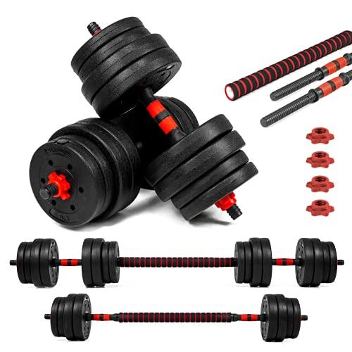 Xylo Sapphire 30kg Lang- Kurzhantel Hantel Set Gewichte Hantelscheiben Krafttraining 2 in1 Hantelset Kurzhantelstange Langhantelstange inkl. 12 Hantelscheiben Home Gym