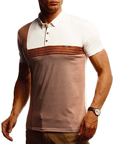 Leif Nelson Herren Sommer T-Shirt Poloshirt Slim Fit Cooles Basic Männer Polo-Shirt Crew Neck Jungen Kurzarmshirt Polo Shirt Sweater Kurzarm LN55160 Beige Camel Large