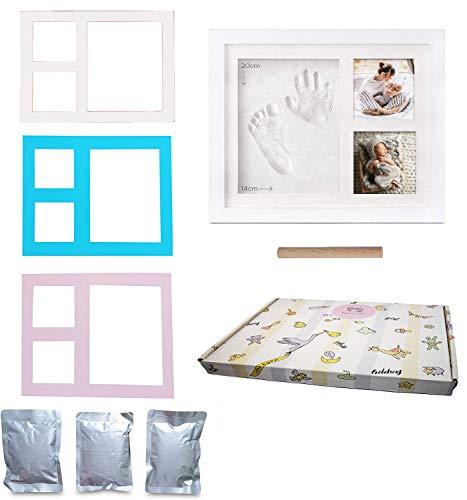 Mostrum® babyvoetafdruk met hand- en voetafdruk, gemaakt in Italië, voor pasgeborenen en baby's, ideaal geschenk voor de doop, afdruk, klei met voetafdruk voor pasgeborenen, lijst met 3 fotolijsten, bont