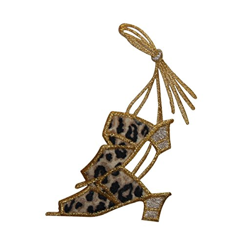 ID 7378 Leopard Print Heels Patch Long Lace Fashion Embroidered Iron On Applique