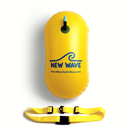New Wave Swim Bubble for Open Water Swimmers and Triathletes - Be Bright, Be Seen & Be Safer with New Wave While Swimming Outdoors with This Safety Swim Buoy Tow Float (Yellow)