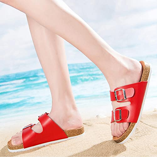 COQUI Mules Mujer Tacon,Zapatillas de Corcho par de Zapatillas de Tendencia de Arrastre-Color Color Azul Rojo_43