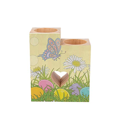 Wooden Candle Holder Easter Eggs Colorful Butterfly Spring Sunflowers Heart Shaped Couple Wood Tealight Candle Holder, Table Decorative Candle Gift for Birthday Anniversary Day Wedding Home Decor