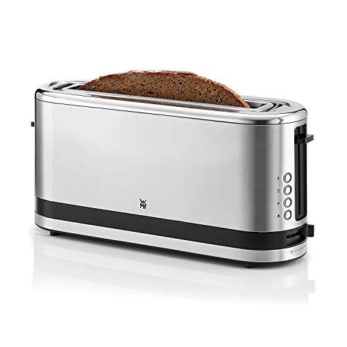 WMF Küchenminis Langschlitz-Toaster (900 W, integrierter Brötchenwärmer, 2 XXL Brotscheiben, Auftau-Funktion) cromargan matt/silber