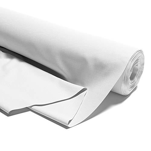 Tissu en coton au mètre - 100% coton - Tissu à coudre uni (Blanc, 200 x 160 cm)