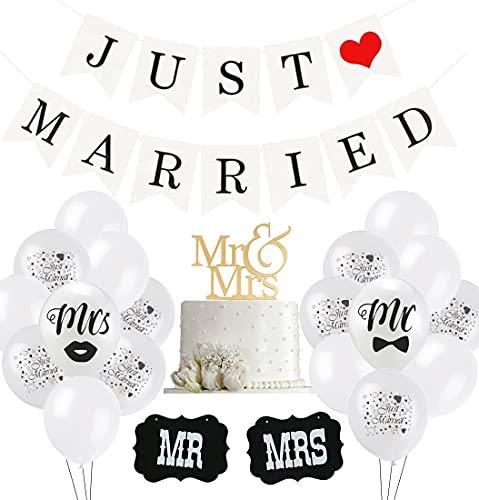 Just Married Hochzeit Deko Set, 30 Weiß Ballon, 10 Just Married Luftballons, 2 Schilder MR und MRS, 1 Just Married girlande banner für Heiratsantrag Hochzeit Fest Party Dekoration