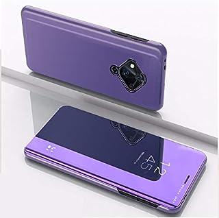 BFGTW スタンド携帯電話ホルスターによるインビボS5メッキミラー左右反転皮革用 (色 : Purple Blue)