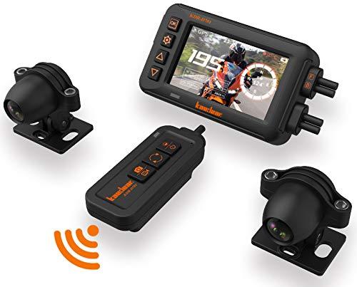 Kaedear(カエディア) バイク用ドライブレコーダー バイク ドラレコ 全体防水 IP67 防水 HDR機能 超高画質 3インチ コンパクト モニター アルミ製マウント 二輪車 sony starvis 超暗視 前後カメラ 1080P録画 200万画素 常時録画 駐車監視 衝撃 Gセンサー 150° 広角 WiFi カメラ ドライブレコーダー オートバイ マイク リモコン GPS 一体型