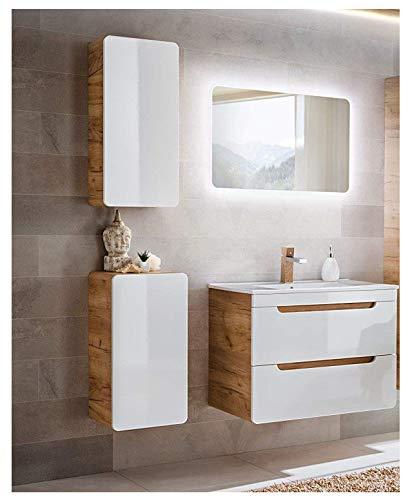 naka24 Badmöbel Set ''Aruba-Weiss/Eiche 80 Badmöbel Set mit Waschbecken Badmöbelset LED (Waschtisch Spiegel Hängeschrank Unterschrank)