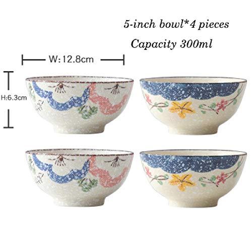 Teller Keramikschale Im Japanischen Stil Home Eating Handbemalte Schneeflockenglasur Kleine Suppenschüssel Reisschale Kreatives Besteckset 5-Zoll-Scha