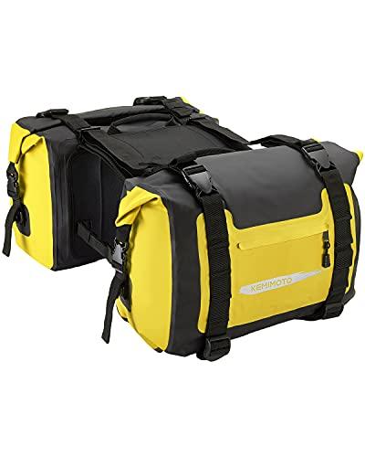 Kemimoto Motorcycle Saddlebags Waterproof 50L PVC Motorcycle Dry Saddle Bags with Hook&Loop Top Closure, Reflective Design(Matte Yellow, 2 pack)