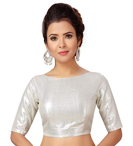 Studio Shringaar Women's Brocade Poly Silk Stitched Saree Blouse with Elbow Length Sleeves (Silver, Small)