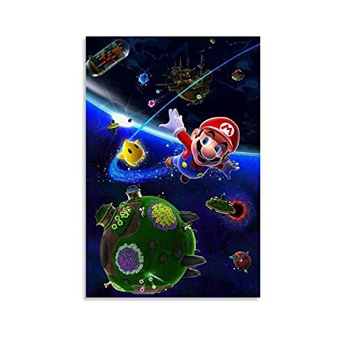 Super Mario Art, Galaxy Wallpaper arte de pared arte de la foto de arte para la sala de estar, dormitorio, decoración del hogar y la oficina enmarcada 30 x 45 cm
